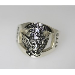 Amazing Custom Sterling Silver Navy Ring made by US Veterans.