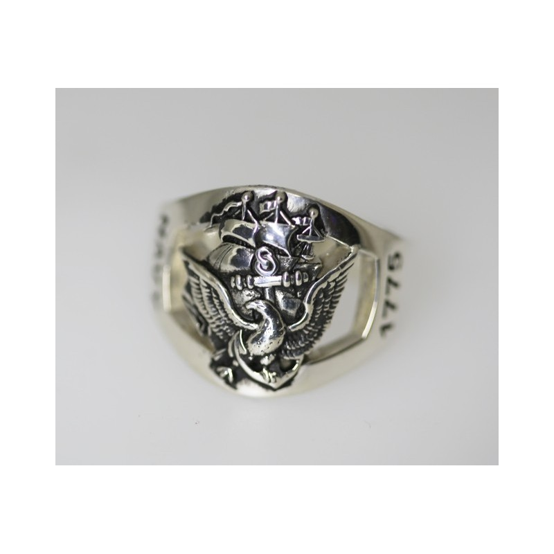amazing custom sterling silver navy ring made by us veterans