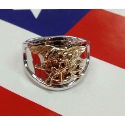 14K Two tone Gold US Navy SEAL Ring