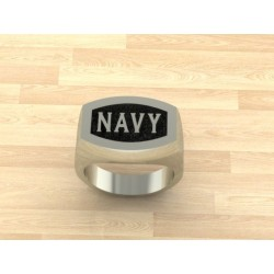Solid Sterling Silver Navy Ring