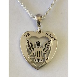 US Navy Heart Necklace
