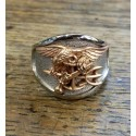 Two Tone 14K Gold US Navy SEAL Ring