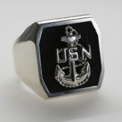 Sterling Silver US Navy Chief Ring