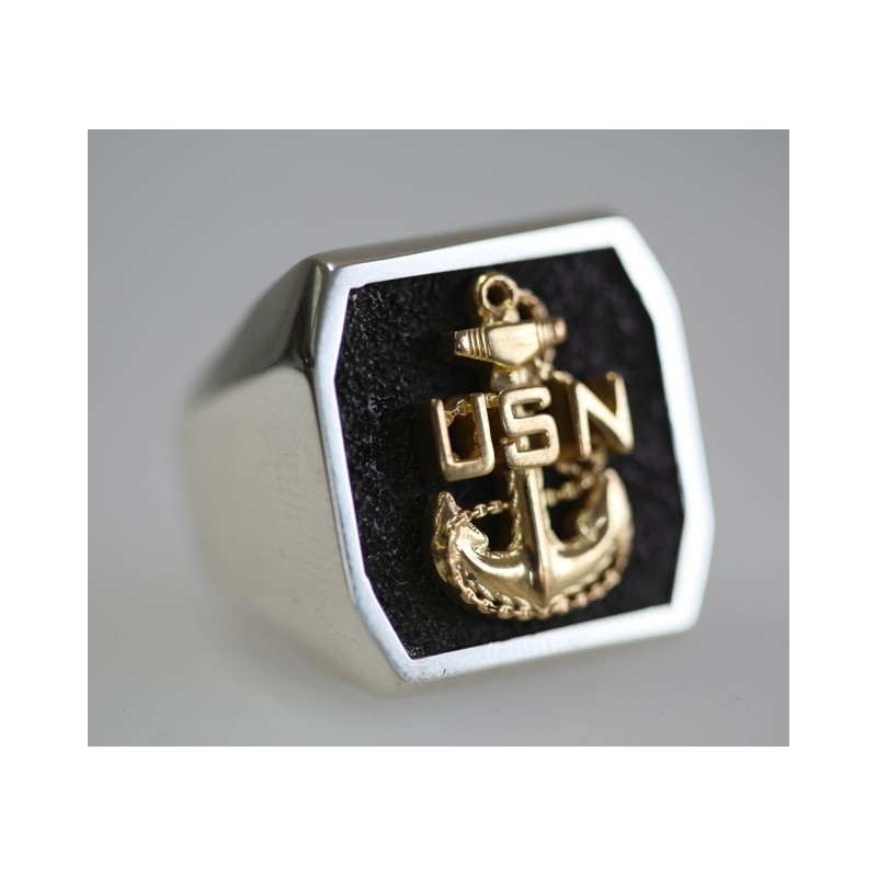sterling silver usn chief ring with 14k yellow gold anchor